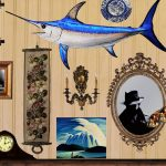 Swordfish artwork, depicting wall in house